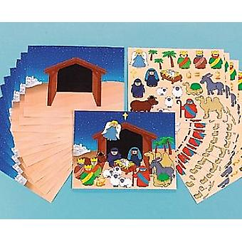 12 Decorate Your Own Large Christian Nativity Sticker Scene Christmas Crafts