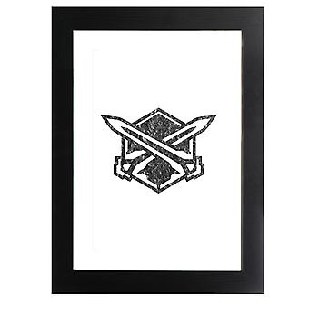 Legion Emblem Nero Catena Astrale Incorniciato Stampa