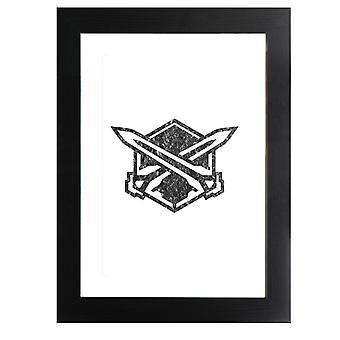Legion Emblem schwarz Astral Kette gerahmt Druck