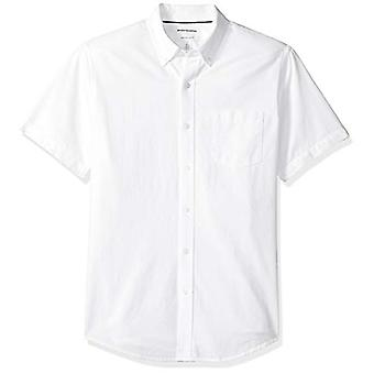 Essentials Men's Regular-Fit Short-Sleeve Pocket Oxford Shirt, White, ...