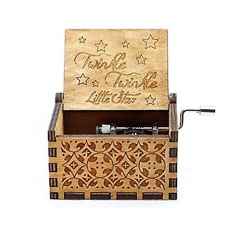 Twinkle Twinkle Little Star Gravé Wooden Hand Crank Music Box