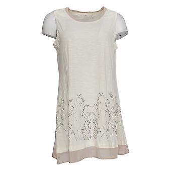 LOGO by Lori Goldstein Women's Top Embellished Slub Knit Beige A273360