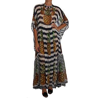 Dolce & Gabbana Mavi Beyaz İpek Çizgili Ananas Tunik Gece Elbisesi Maxi Elbise DR1472-38