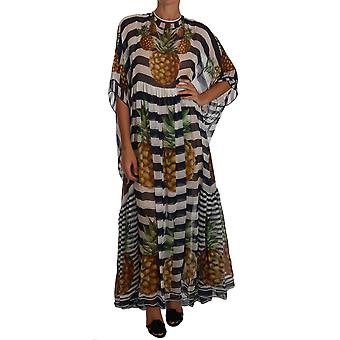 Dolce & Gabbana Blue White Silk Striped Pineapple Tunic Gown Maxi Dress DR1472-38