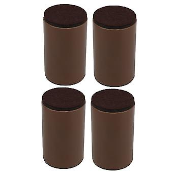 4pcs 60x102mm Carbon Steel Brown Furniture Legs Lifter Self Adhesive Brown