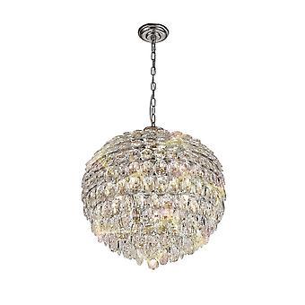 Pendentif plafond, 9 Lumière E14, Chrome poli, Cristal