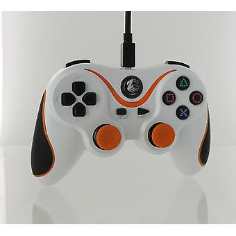 Wired gamepad-controller til Sony PS3 med ekstra langt 3m-kabel-hvid & orange