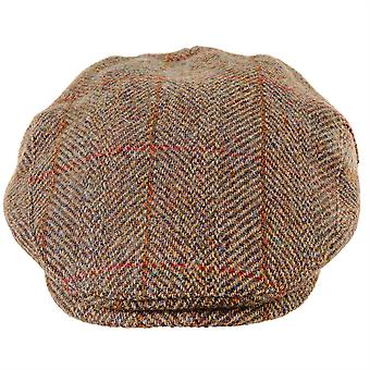 ZH014 (OLIVE/GOLD XL 62cm ) Highland Harris Tweed Flat Cap