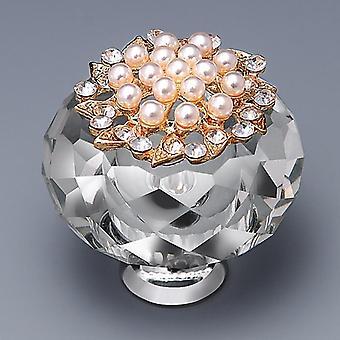 10pcs 40mm Pearls Diamond Door Knobs Crystal Glass Cupboard Drawer Pull Kitchen Handles
