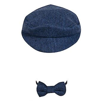 Újszülött fotó kellékek Beret Hat + Csokornyakkendő set újszülött fotózás kellékek Gentleman Cap Outfit