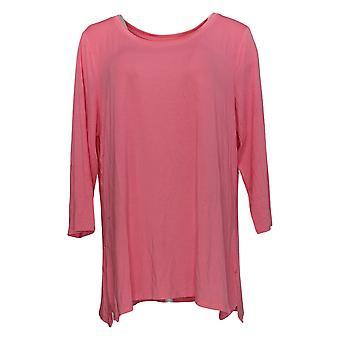 H بواسطة هالستون المرأة & ق زائد أعلى أساسيات قميص تايل هيم الوردي A352994