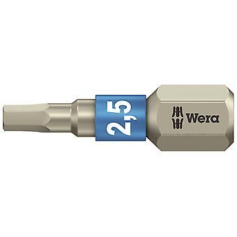 Wera 3840/1 TS Torsion rustfrit stål Indsæt Bit Hex 2,5 x 25mm WER071072