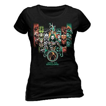 Aquaman Womens/Ladies Movie Unite The Kingdoms T-Shirt