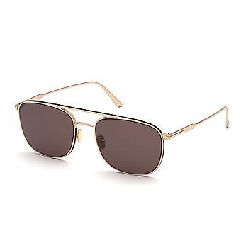 Tom Ford Jake TF827 28E Shiny Rose Gold/Brown Sunglasses