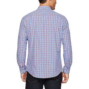Essentials Men's Regular-Fit Long-Sleeve Casual Poplin Shirt, Rosu/ Albastru ...