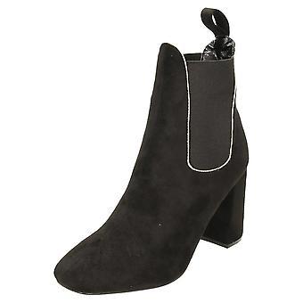 Koi Footwear Chelsea Ankle Boots Block Heel Faux Suede