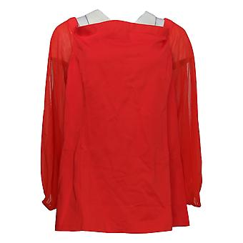 H Par Halston Women's Plus Top Off The Shoulder Chiffon Sleeves Rouge A295069