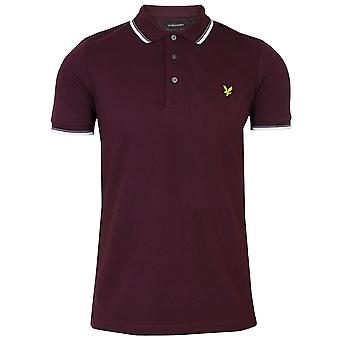 Lyle & scott men's burgundy and white tipped polo shirt