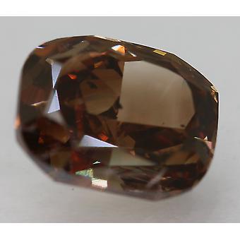 Cert 2.17 Karaat levendig bruin VS2-kussen verbeterde natuurlijke diamant 8,3x6,77 mm