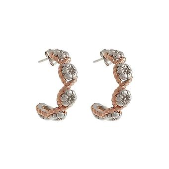 Olivia Burton Obj16fse07 Floral Charm Rope Hoop Earrings Silver & Rose Gold