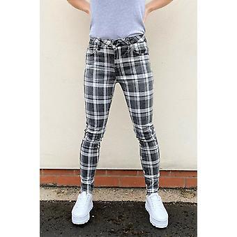 Slim Skinny Stretch Tartan Trousers Check Pants