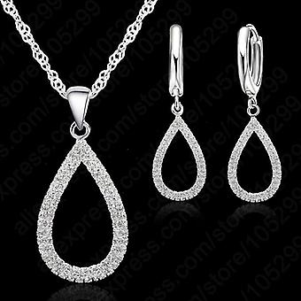 Romantic Bridal Necklace Earring Jewelry-set, High Quality 925 Sterling Silver