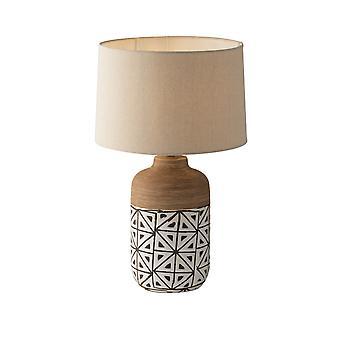 Keramische tafellamp met stoffen tint, bruin, ivoor, beige, E27
