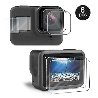 Kupton screen protector for gopro hero 8 black 6 pcs, ultra clear tempered glass screen protector +