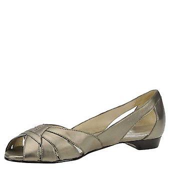 Mark Lemp Classics Womens Zuzu Leather Peep Toe Slide Flats
