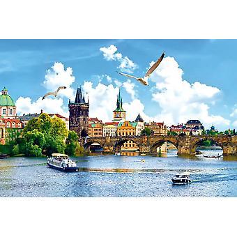 Wallpaper Mural Vltava River and Bridge