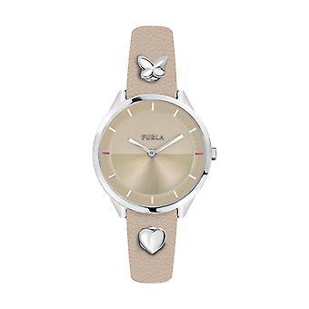 Furla Women'S Pin Beige Dial Calfskin Leather Watch