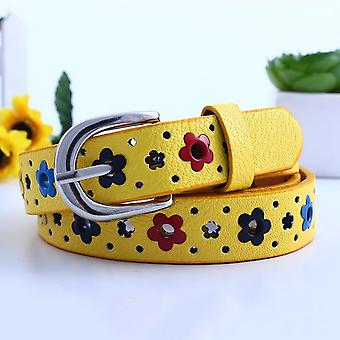 Hollow Butterfly Flowers Lace Leather Belts For's Waistband Belt