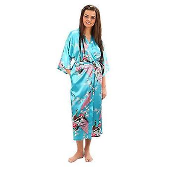 Women Floral Bridesmaids Long Kimono Robe Bride Silk Dressing Gown