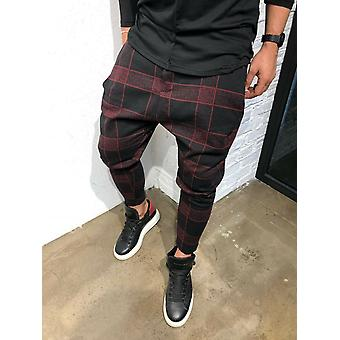 Men's Jogger Pants Fitness Plaid Casual Straight Trousers Pants