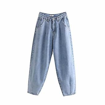 Pantalon pantalon harem loose jeans femme taille haute