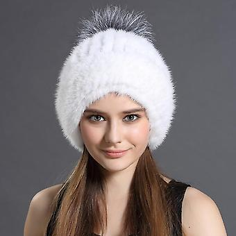 Women's Fur Hats New Fashion Suede Hat Fox Fur Ball Women Winter Headgear &