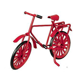 Casa de muñecas rojo metal bicicleta miniatura 1:12 escala jardín accesorio pequeño