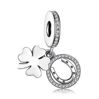 Bijoux Palace Leaf Clover 925 Sterling Silver Beads Charms Bracelet