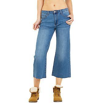 Wide Leg Cropped Jeans Raw Hem - Blue