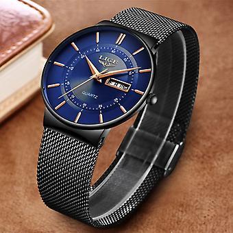 Lige Quartz Movement Men - Anologue Luxury Watch for Men Black-Blue