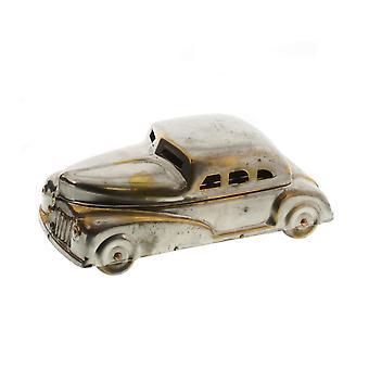 Boîte de stockage en métal en forme de voiture de bijoux de trame, laiton et argent