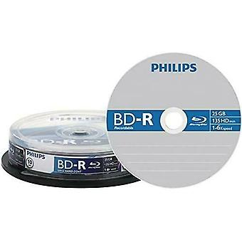 Philips BD-R, 10 Pack, 25GB Capacity Single Side & Layer - BR2S6B10F/00