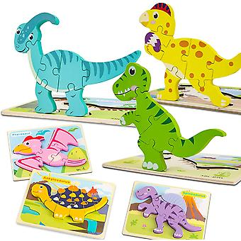 6 Pack Wooden Dinosaur Puzzles For Toddlers