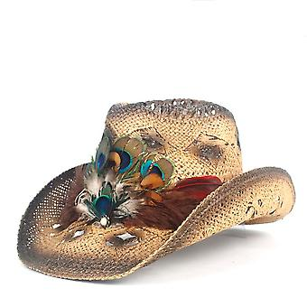 Straw Hollow Western Cowboy Hat, Peacock Feather Beach Cowgirl Jazz Sun Hat,
