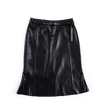 Mimigo Office Lady High-waisted Natural Leather Women Spliced Mid-long Wrapped Pencil Skirt Female Zipper-up Solid Skirts Fishtail Skirt