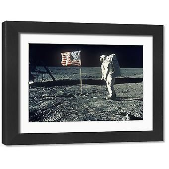 Apollo 11 astronaut Buzz Aldrin walking on moon. Large Framed Photo. Apollo 11 astronaut Edwin.
