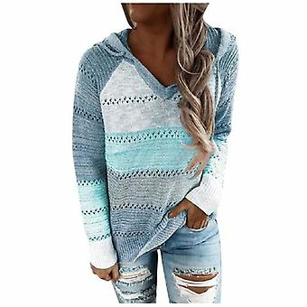 Hollow Out Striped Patchwork Hooded Sweaters
