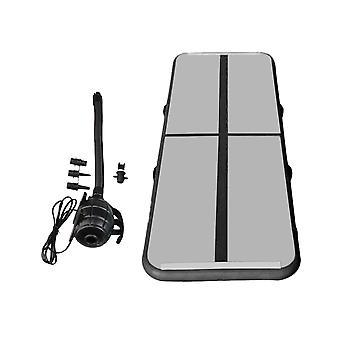 100x60x10cm uppblåsbar träningsmatta 500W pump för gymnast svart