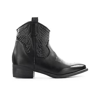 Zoe Black Texan Ankle Boot With Studs