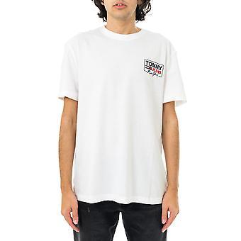 T-shirt homme tommy jeans tjm ny script box back logo tee dm0dm10216.ybr